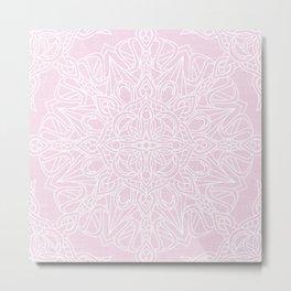 White Mandala on Pastel Pink Linen Textured Background Metal Print