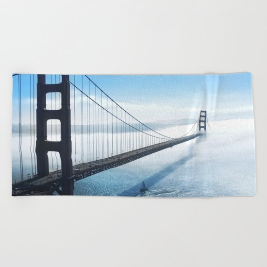 golden gate bridge river Beach Towel