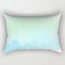 Hand painted turquoise teal blue watercolor ombre brushstrokes Rectangular Pillow