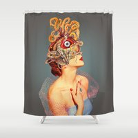 eugenia loli Shower Curtains featuring Freud vs Jung by Eugenia Loli