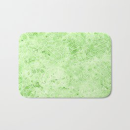 Greenery and white swirls doodles Bath Mat