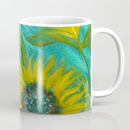 Sunflower Abstract on Turquoise I Coffee Mug