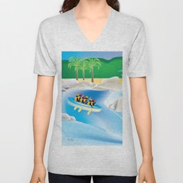 Dominican Republic - Skyline Illustration by Loose Petals Unisex V-Neck