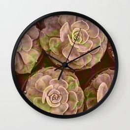 Retro Vintage Glitch Pop Succulent Floral Print Wall Clock
