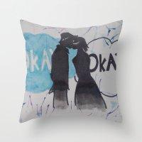 okay Throw Pillows featuring Okay.  by Oksana's Art