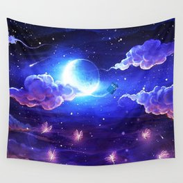 Tardis Art Flying Side Starry Night Wall Tapestry