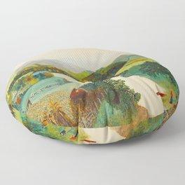 Anna Mary Robertson 'Grandma' Moses Upper Cambridge Valley American Folk Art Floor Pillow