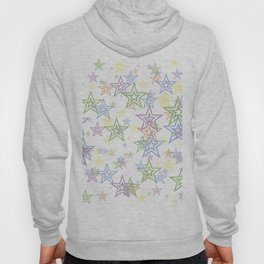 Numerous stars of different sizes and colors on white background Hoody