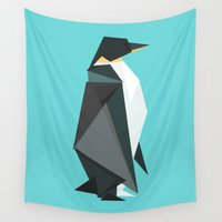 fractal Wall Tapestries featuring Fractal geometric emperor penguin by Picomodi