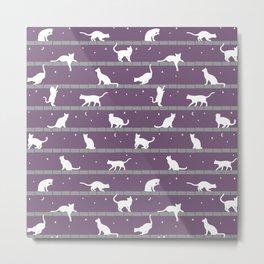 Cats Pattern (purple) Metal Print