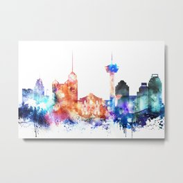 San Antonio Watercolor Skyline Metal Print