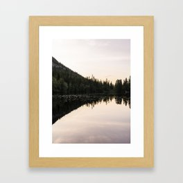 Reflection of pine tree forest on mountain in lake - pastel colored sky - fine art photo print - Norway  Framed Art Print