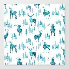 Ice Forest Deer Canvas Print