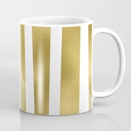 Gold unequal stripes on clear white - vertical pattern Coffee Mug