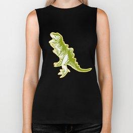 Dino Pop Art - T-Rex - Yellow & Olive Biker Tank