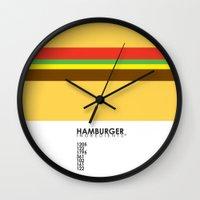 pantone Wall Clocks featuring Pantone Food - Hamburger by Picomodi