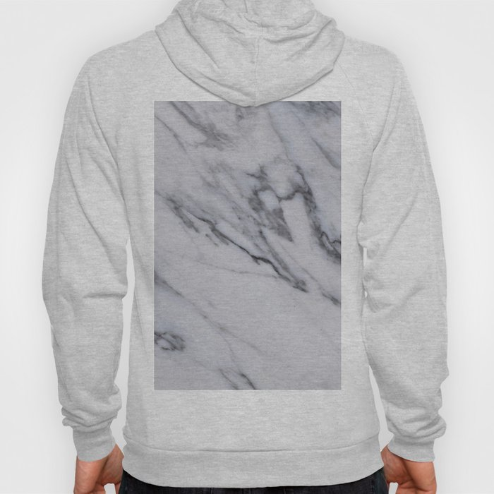 Marble - Black and White Gray Swirled Marble Design Hoody