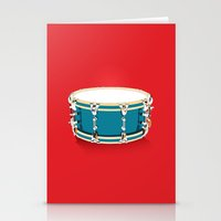 drum Stationery Cards featuring Drum - Red by Ornaart