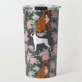 Boxer florals floral pattern dog portrait pet friendly dog breeds boxers Travel Mug