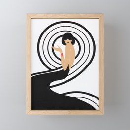 Retro Fashion Print, Black and White Minimalist Vintage Poster Framed Mini Art Print