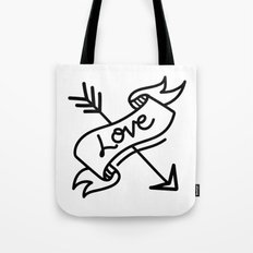 love type banner with arrow Tote Bag