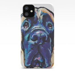 Fun ENGLISH MASTIFF Dog bright colorful Pop Art Painting by LEA iPhone Case
