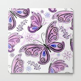 Colorful Butterflies and Flowers V12 Metal Print