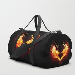 Angel Fire Heart with Wings Duffle Bag