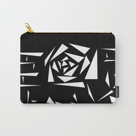 Black and white abstract pattern of Roses. Triangles .1 Carry-All Pouch
