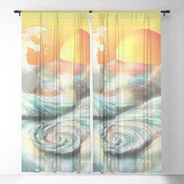 Sunset at Awa whirlpool rapids in Japan Sheer Curtain