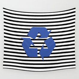Blue Recycle Logo - Symbol on a black lines pattern Wall Tapestry
