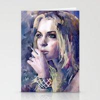 "lindsay lohan Stationery Cards featuring ""Lindsay Lohan"" by Emma Reznikova"