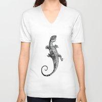 lizard V-neck T-shirts featuring lizard by Emma Reznikova