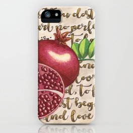 Pomegranate, Love Anew, Persephone, fruit art, love poem, food art, rebirth, fertility goddess iPhone Case