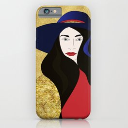 Hat Lady with the Golden Background iPhone Case