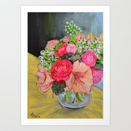 Pink and Peonies Art Print
