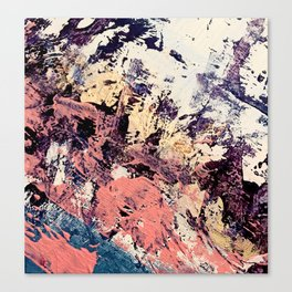 Brilliance: vibrant, colorful and textured in purple, gold, pink, blue, and white Canvas Print
