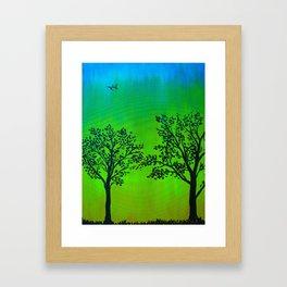 Bright Green Silhouette Framed Art Print