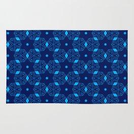 Shibori Stars (dark and pale blue) Rug