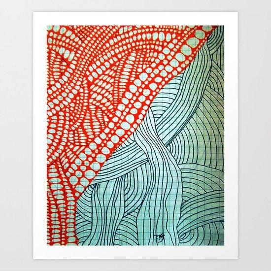"Hand Drawn ""Orange Stones"" Doodle Art Print"