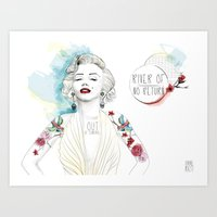marylin monroe Art Prints featuring Marylin Monroe  by sarah rie