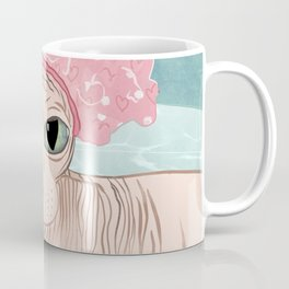 No Hair Don't Care - Sphynx Cat Wearing a Shower Cap in a Bathtub - Wrinkly Hairless Kitty Coffee Mug