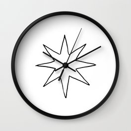 Black Eight Pointed Star Outline Wall Clock