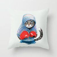 jazzberry Throw Pillows featuring Boxing Cat by Tummeow