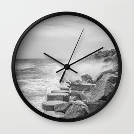 Rocks on the Sea Wall at Fort Fisher NC Sepia Black and White Wall Clock