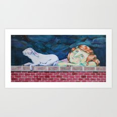 Ann is looking at the stars Art Print