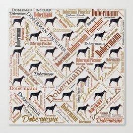Dobermann Word Art Canvas Print