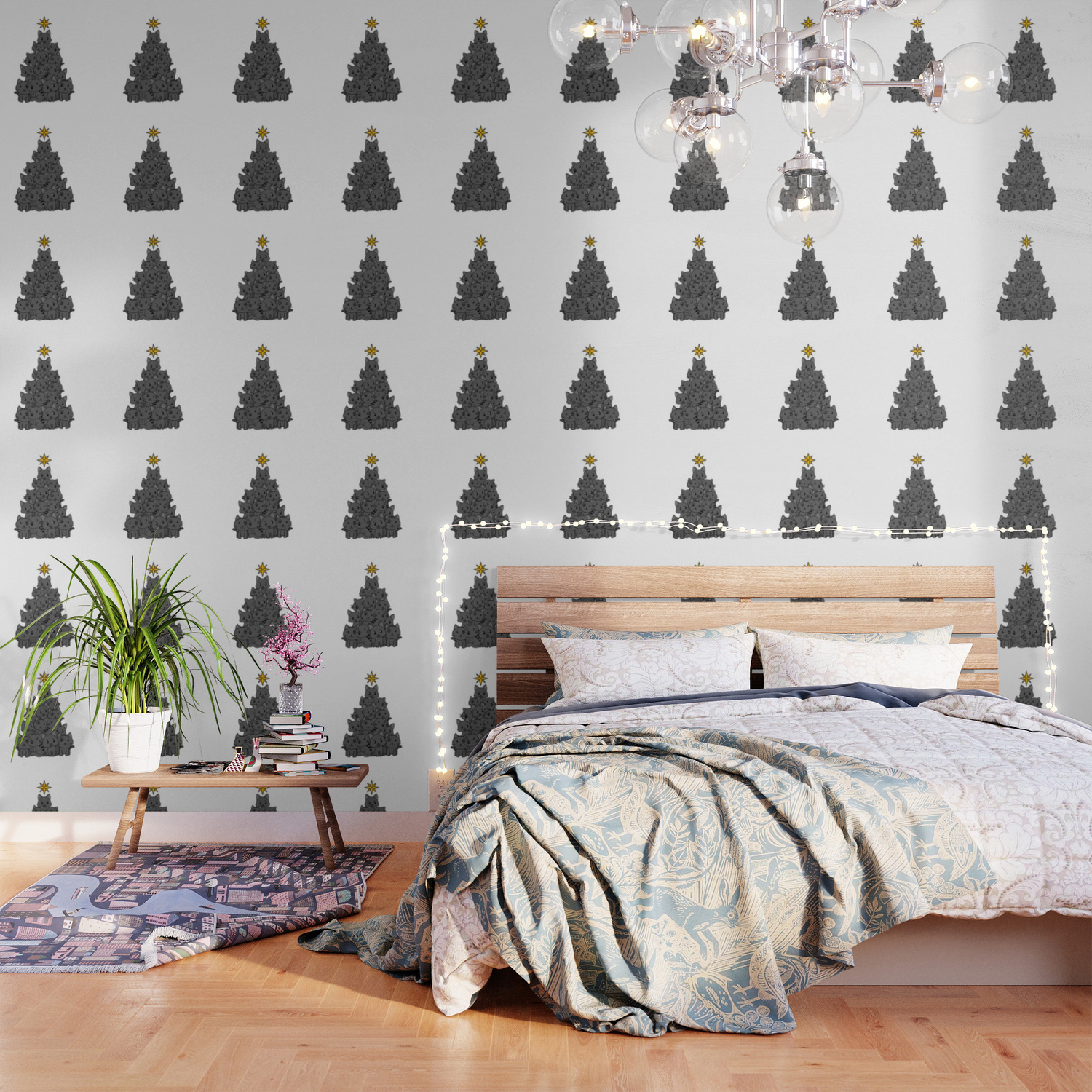 Meowy Christmas Tree Cute Black Cat Kittens Meow Wallpaper By Bubltees Society6