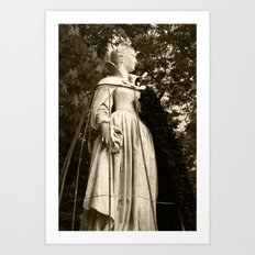 The Queen, side view (sepia version) Art Print