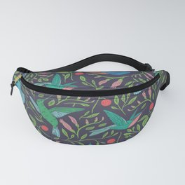 Hummingbirds and Hibiscus Tropical Pattern Fanny Pack